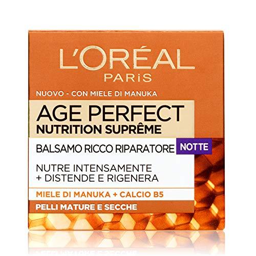 L'Oréal Paris Trattamenti Age Perfect Nutrition Supreme Crema Viso Antirughe Riparatrice Notte, Pelli Mature Secche, 50 ml