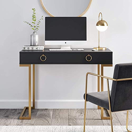Nathan James Leighton Two-Drawer Writing Glam Accents Brass, Home Office Computer Desk or Vanity Table, 2, Black/Gold