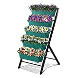 GROWNEER 4 Feet Vertical Garden Planter Cascading Water Drainage 5 Container Boxes Freestanding Elevated Plastic Planters with 15 Pcs Plant Labels, for Garden, Porch, Patio, Terrace, Indoor Outdoor