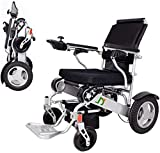 Lightweight Folding Electric Wheelchair, Deluxe Fold Foldable Power Compact Mobility Aid Wheel Chair, Dual...