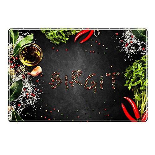 Tischset mit Namen ''Birgit'' Motiv Pfeffer - Tischunterlage, Platzset, Platzdeckchen, Platzunterlage, Namenstischset
