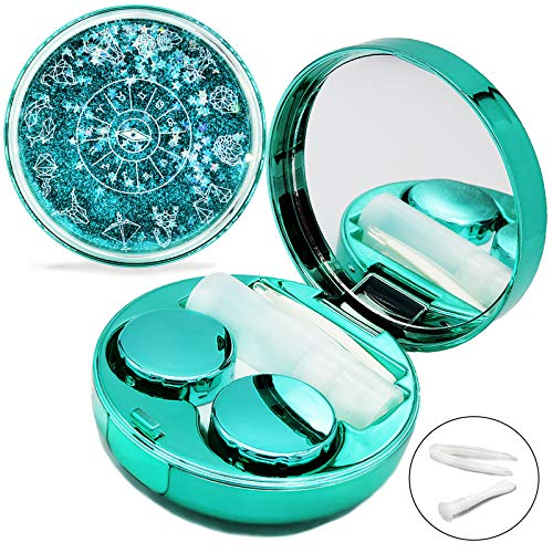 Contact Lens Case, Bling Stars Colored Portable Cute Eye Contact Lense Remover Tool with Mirror for Teen Girls Women Travel Carry(Green)