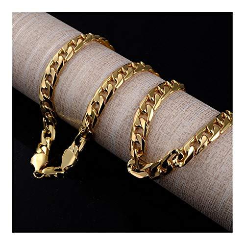 Cadena for Hombre del Collar de la Cadena del Oro Filled joyería Collares de Uso Diario 61 cm Collar de Cadena Mujer niña para (Color : 28INCH, Size : XL025)