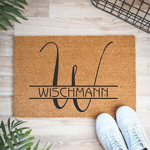 Fußmatte personalisiert mit Familiennamen aus Kokos-Fasern | 60 x 40 cm Fußteppich aus Cocos für den Eingangsbereich | Individuelle Kokos-Fußmatte für Familien