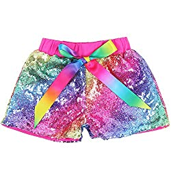 Rainbow Hot Pink Sequin Shorts Glitter on Both Sides