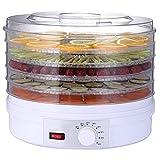 HYLK Deshidratador de Alimentos, deshidratadorpara Alimentos/cecina/Frutas/Hierbas/Verduras, Control de Temperatura, Secadora de Alimentos eléctrica, 5 bandejas sin BPA, 350 W, Color Blanco