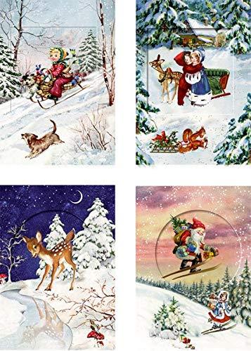 Coppenrath - Calendario de adviento con ventanas con purpurina, plegable, fabricado en Alemania, diseño de Nostalgic Dreams