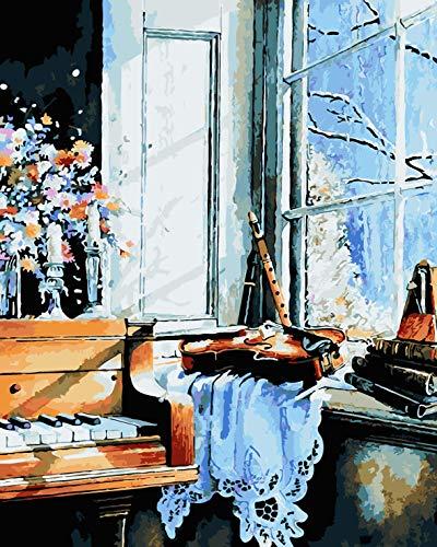 Schilderen op nummer, volwassenen, kinderen, doe-het-zelf olieverfschilderij, 40 x 50 cm, zonder lijst, bevat acrylverf en 3 penselen voor thuis, huis - piano voor het raam