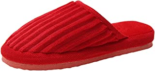 KAIXLIONLY Women Mens Couples Striped Flock Warm Non-Slip Floor House Slippers Indoor Anti-Skid Sole Flats Shoes