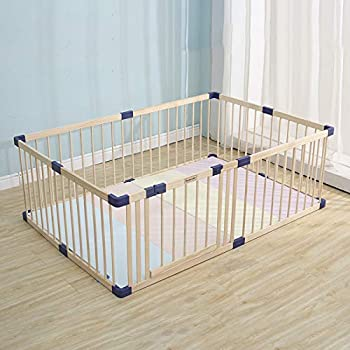 Kids Play Fence with Door,Wood Playpen Baby Safety Play Center Yard Safe Play Area Indoor Kids Safety Activity Center Playard w/Locking Gate  Natural Wood 47.24 x 63.00