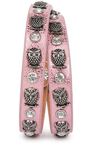 styleBREAKER Wickelarmband mit Eulen Nieten und Strass mit echtem Leder, Nietenarmband, Damen 05040019, Farbe:Antik-Rosa