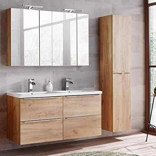 Lomadox Komplett Badmöbel Set mit Doppel-Waschtisch 120cm aus Keramik 120cm, inkl. 2 Spiegelschränke, Wotaneiche & Hochglanz weiß, Breite 175cm