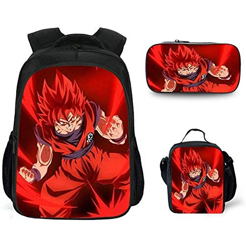 HOOBBI Anime Backpack Comfortable Breathable School Bag Set with Insulated Lunch Tote Purse Pen Organizer Demon Slayer Printed Rucksacks Daypacks (Color : Demon Slayer1)