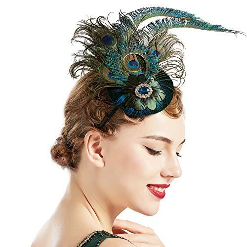 Coucoland Pfau Feder Fascinators Hut Damen 1920s Stirnband Elegant Fascinator Haarreif Cocktail Tee Party Damen Greaty Gatsby Fasching Kostüm Accessoires (Stil 1)