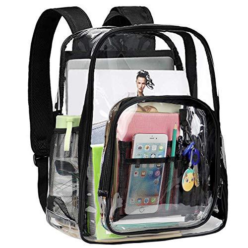 Schulrucksack, Großer Transparent Rucksack für Schule Uni Reisen Freizeit (Schwarz)