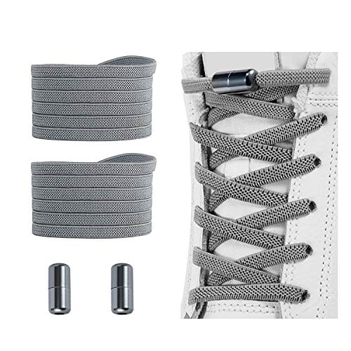 No Tie Shoelaces , Elastic Shoelaces for Adults/Kids,Elastic No Tie Shoe Laces Grey