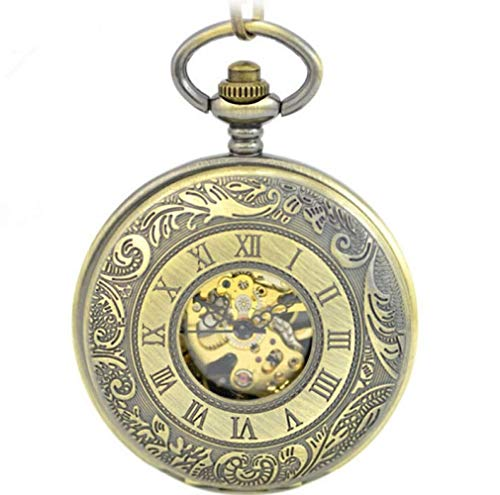 J-Love Reloj de Bolsillo con Doble Apertura para Hombre, Cadena mecánica de Cuerda Manual, Reloj de Bronce, número Roma, Relojes Steampunk, Regalos para Padre