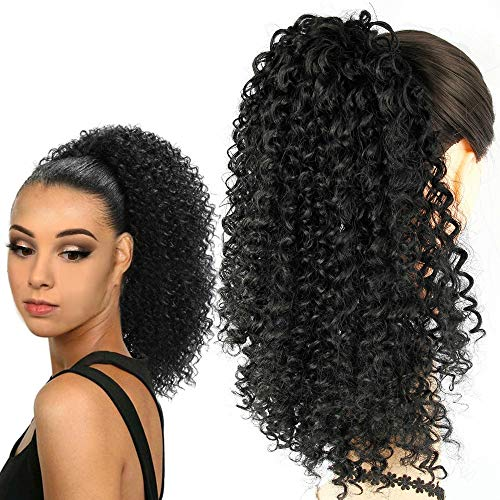 Extension di capelli sintetici afro corti e ricci, 30,5 cm, per donne, per chignon e coda di cavallo