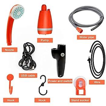 CPROSP Douche de Camping Portable avec Pompe Immergée, Batterie-li 2200mAh USB Rechargeable, Douches de Randonnée 12V
