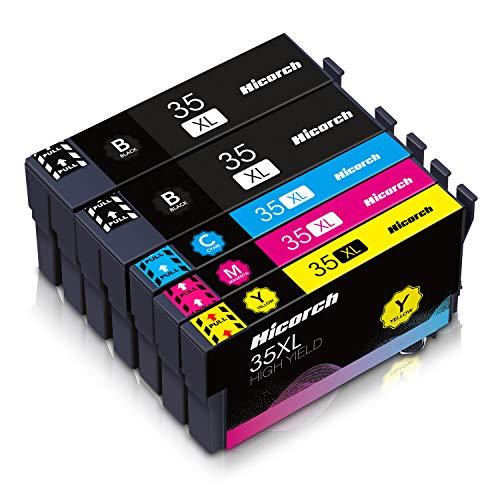 Hicorch 35XL Cartucce d'inchiostro Compatibile con Cartucce Epson 35 XL Multipack per Epson WorkForce Pro WF-4740DTWF WF-4730DTWF WF-4725DWF WF-4720DWF (2 Nero, 1 Ciano, 1 Magenta, 1 Giallo)