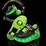 WFLRF LED Luce Unisex per Ragazze Bambini Scarpe per Pattini A Rotelle A 7 Colore Doppia Ruote da Ginnastica Sportive Retrattili/Leggere Sneakers per Bambini Regalo,32