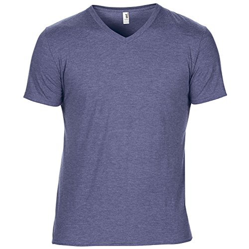Anvil - T-Shirt à Manches Courtes et col en V - Homme (S) (Bleu chiné)