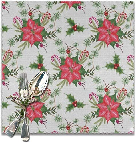 The reusable Poinsettia Flower, Holly Leaf, Red Berry, Candy Cane, Green Pine Spruce Placemats For Dining Table Set of 6. Heat Resistant Table Mat Washable Non Slip ,Perfect for everyday use, Pers