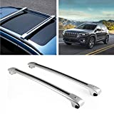 MotorFansClub Roof Rack Cross Bars Fit for Compatible with Jeep Cherokee 2014 2015 2016 2017 2018 2019 crossbars Luggage Cargo Top Roof Rail (Doesn't Fit Jeep Grand Cherokee)
