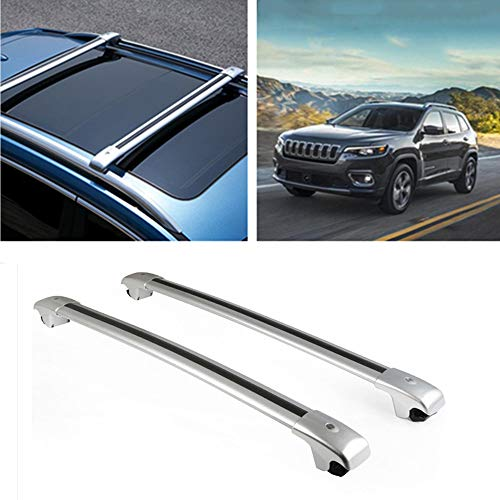 MotorFansClub Roof Rack Luggage Cargo Rack Cross Bars Rail with Key for Jeep Cherokee 2014-2019(Don't Fit for Jeep Grand Cherokee!)