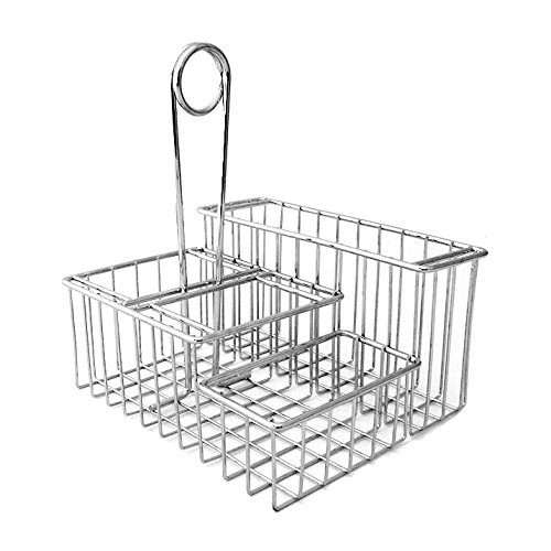 G.E.T. Enterprises Chrome Four Compartment Condiment Caddy Metal Specialty Servingware Collection 4-21699 (Pack of 1)