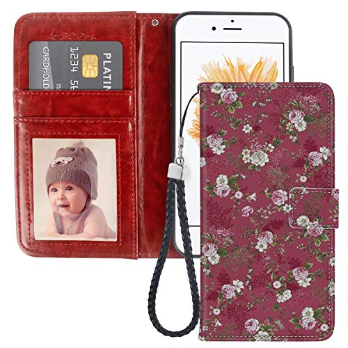 Wallet Case for iPhone 5C Rose Flower Phone Cover TPU Soft Edge Internal Case and PU Leather Outer Case with Card Slot Magnetic Buckle Flip Case