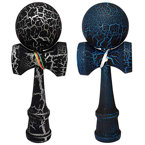 KENDAMA TOY CO. 2 Pack - The Best Kendama for All Kinds of Fun (Full Size) - Awesome Colors: Black Blue and Black Silver Crackle -Solid Wood - A Tool to Create Better Hand and Eye Coordination