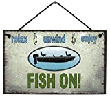 Egbert's Treasures 5x8 Vintage Style Sign with a Fishing Boat Saying, Relax, Unwind, Enjoy, Fish ON...