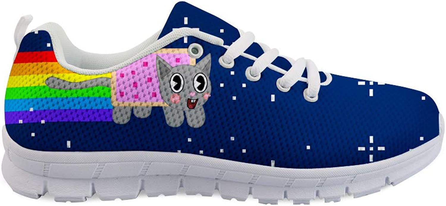 Owaheson Lace-up Sneaker Training shoes Mens Womens Non-Stop Rocket Rainbow Cat