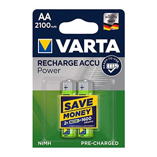 VARTA Rechargeable Accu Power vorgeladener AA Mignon Ni-Mh Akku (2er Pack. 2100 mAh) , wiederaufladbar ohne Memory-Effekt - sofort einsatzbereit