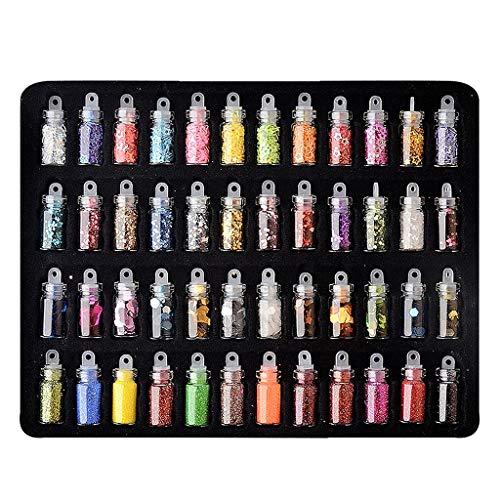 Homyl 48 Bouteilles Paillettes Ongles Paillette Fine Multicolores Paillettes Poudre pour Nail Art, Visage, Création de Cartes, Tatous