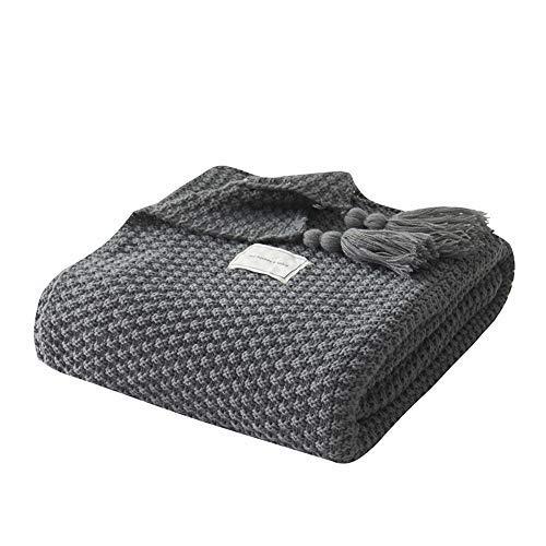 Hava Kolari Kuscheldecke Strickdecke kuschelig, Strickdecke Fashion Schal Decke Weiche Überwürfe für Sofa Bett Überwurf Decken (Grau,150 x 200cm)