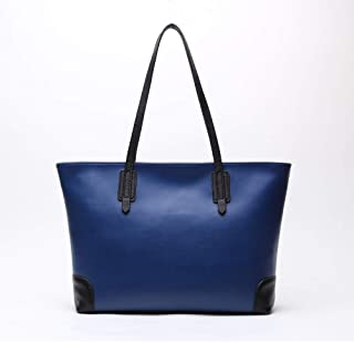 FengheYQ Simple Multi-Function Large Capacity Shoulder Bag Shoulder Slung Leather Handbag Size:36 * 12 * 28cm (Color : Blue)