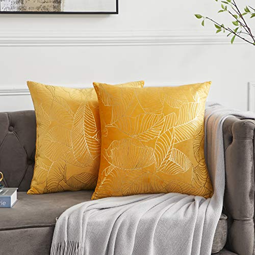 OMMATO Yellow Cushion Covers Square Gold Leaves Decorative Velvet Throw Pillow Covers for Sofa Couch Living Room 18 x 18 inch 45cm x 45cm Set of 2
