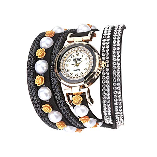 Fenverk Retro Vintage Klee Design Damen Armbanduhr Armreif Uhr Anhänger Spangenuhr Quarzuhren,Mode-Accessoires Retro Weave Wrap Um Leder Armband mit Schlüssel Frauen Quarz Natur Stlye Uhr(Black#02)