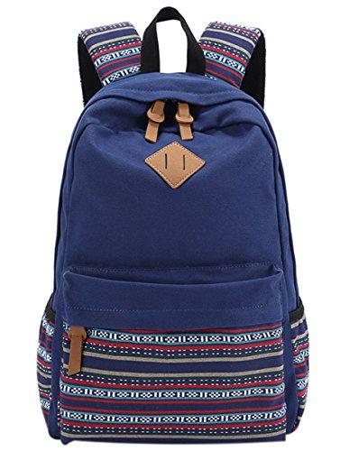 Panegy Damen Mädchen Mode Design Rucksack Ethnischen Stil Canvas Rucksäcke Schulrucksack für Schüler Freizeit Outdoor Sport Wanderrucksack - Blau