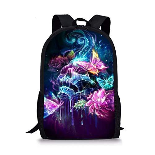 PrelerDIY Butterfly Rose Skull Kids Backpack School Children Book Bag Travel Lightweight Daypack for Boys Girls 17 Inch