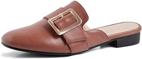 HENRYY Printemps et été Nouvelle Mode Sauvage Baotou Baotou métal Boucle Boucle Demi Pantoufles Décontracté Chaussures Plates femmes-marron-35  dégagement