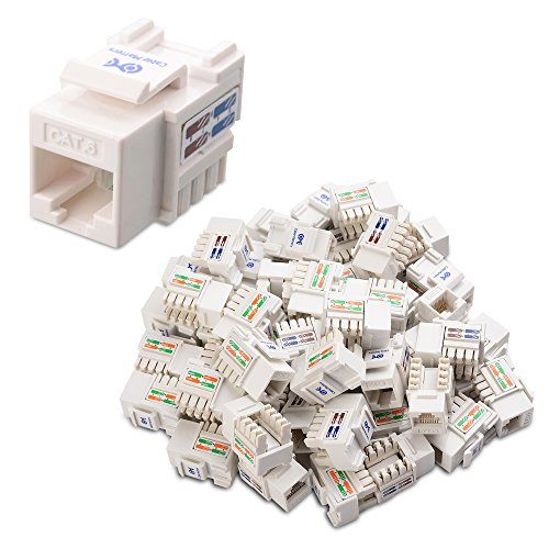 Cable Matters UL Listed 50-Pack RJ45 Keystone Jack in White with Keystone Punch-Down Stand