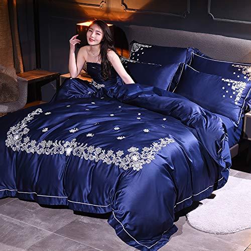 yaonuli Neues 4-delige set van geborduurde gewassen zijde met blauw dekbedovertrek (2,0 m) 220 * 240