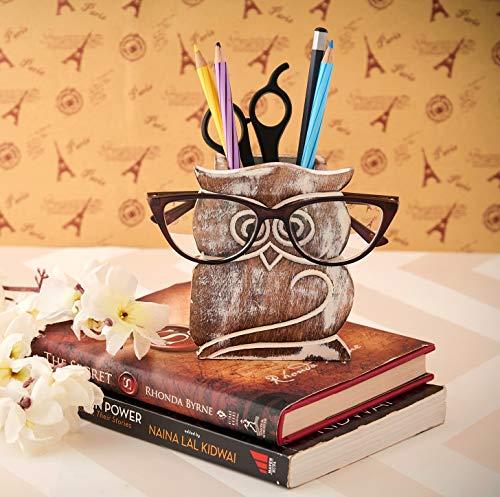 Portapenne in legno rustico a forma di gufo, portapenne, portapenne, organizer da scrivania, accessori per ufficio, idea regalo