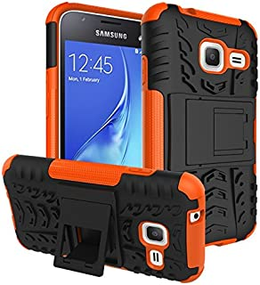 Protective Case Compatible with Samsung Compatible Samsung Galaxy J1 Mini Dual Layer Hybrid Armor Case Detachable [Kickstand] 2 in 1 Shockproof Tough Rugged Case Cover Phone case (Color : Orange)