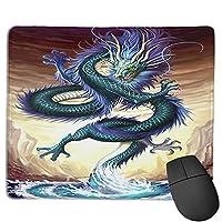 滑り止めマウスマット、ドラゴンクールチャイニーズスタイルマウスパッドデスクトップ、コンピューター、PC、ラップトップ、オフィスおよび家庭用にカスタマイズ30x25 cm /11.8x9.8インチ
