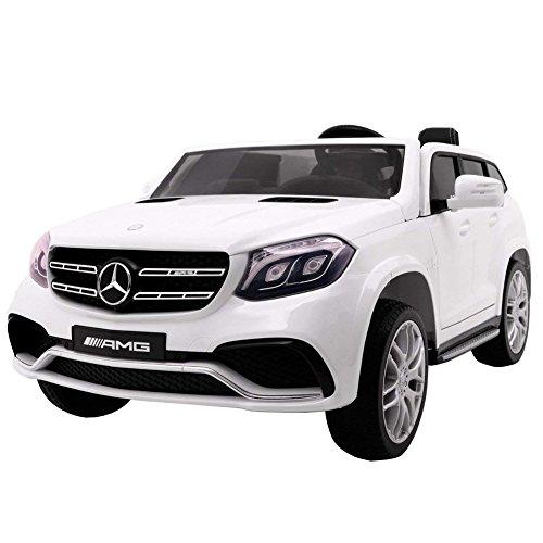 BAKAJI Auto Macchina Elettrica 12V per Bambini 2 Posti Sedili in Pelle Modello Mercedes GLS 63 AMG Lettore USB SD Aux MP3 (Bianco)