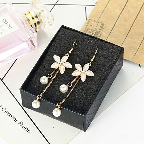 Legierung Ohrringe Temperament Persönlichkeit Lange Perle Ohrringe Blumen Einfache Ohrringe Weiblich